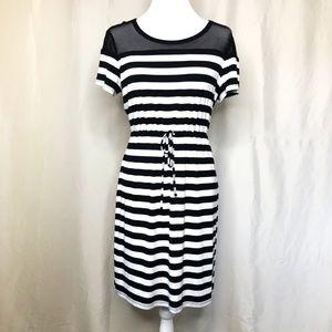Calvin Klein Black & White Stripe SS Knit Dress 12